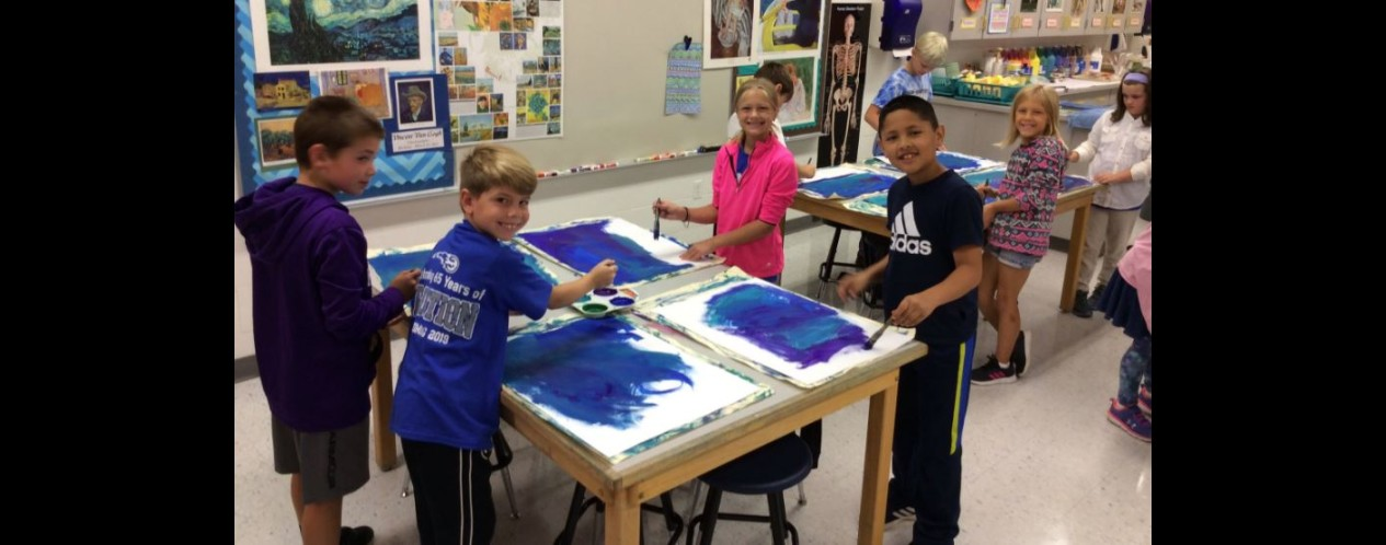 Photograph of 3rd grade art students