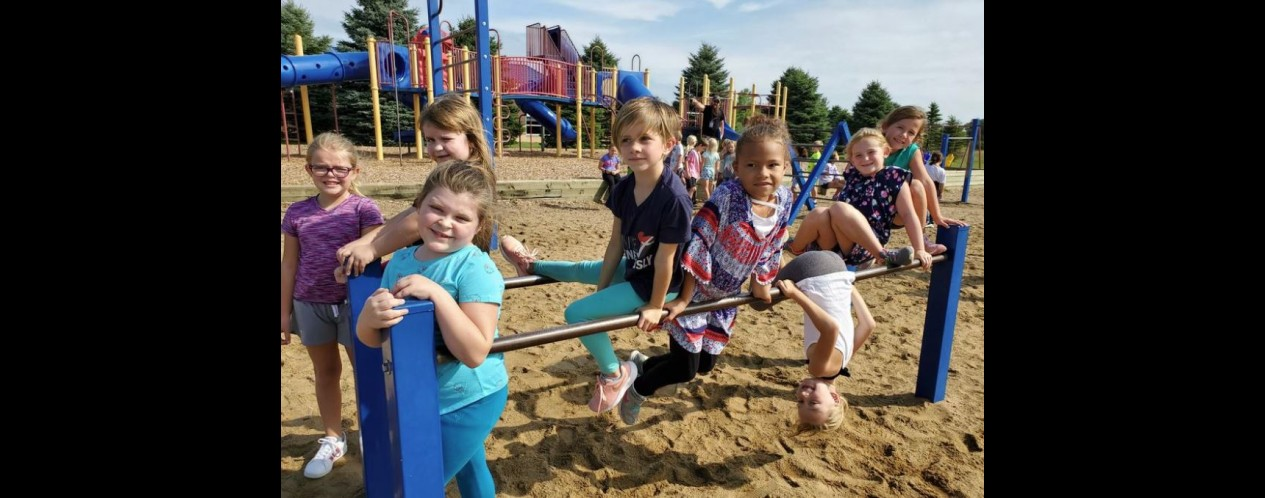 Photograph of Mrs. Peck's students at recess