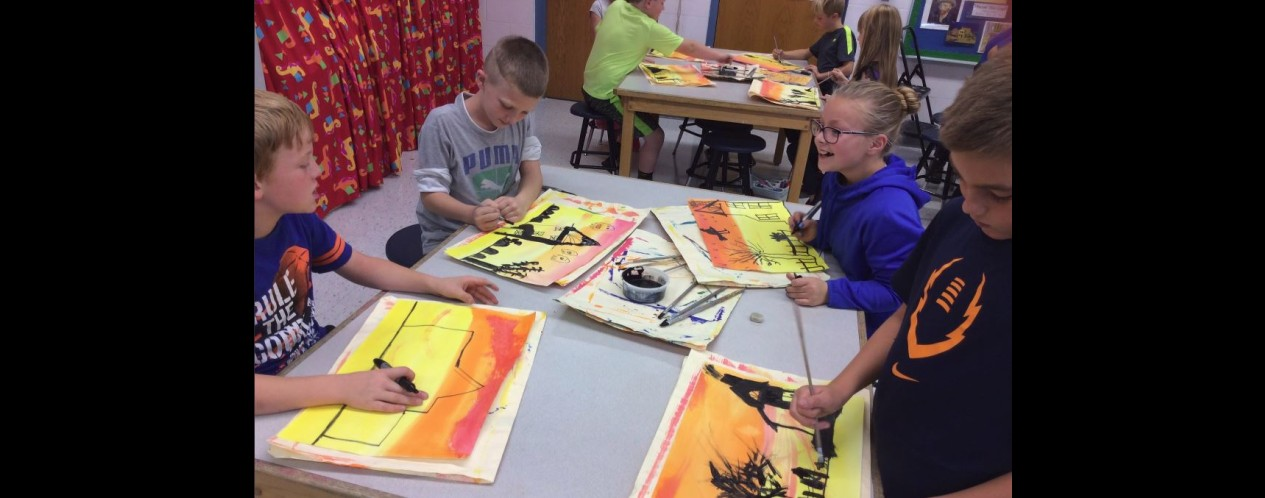 Silhouette Paintings in 3rd Grade Art Class